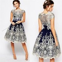 Wish | Fashion Ladies Sexy Lace Embroidery Retro Elegent Evening Party Gowns Cocktail Vintage Wedding Bridesmaid Ball Prom Short Sleeve Dress