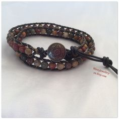 A personal favourite from my Etsy shop https://www.etsy.com/listing/233730569/picasso-jasper-double-wrap-bracelet