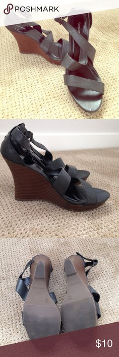 Black wedges in great condition Old Navy brand, size 11 but runs a bit small (I normally wear a 10, and these fit me.) Barely worn and in great shape. These wedges are versatile and easy to dress up or down. Old Navy Shoes Wedges