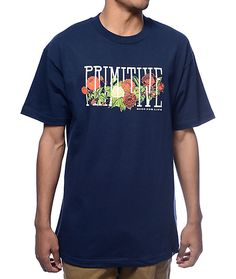 Add some art-deco inspired style to your wardrobe with the Rosebud t-shirt by Primitive. The rosebud graphic on the chest weaves through the Primitive text on the navy colorway made of 100% cotton. This tee is perfect for a day look with a light jacket.