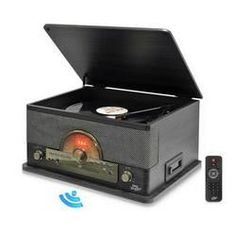 Vintage Retro Classic Style Bluetooth Turntable System with Vinyl/MP3 Recording Ability (Gray)