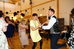fun dancing at manuden village hall wedding