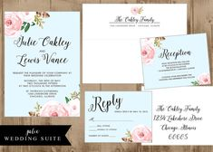 Printable Wedding Suite Invitation  Reply card  by HHpaperCO