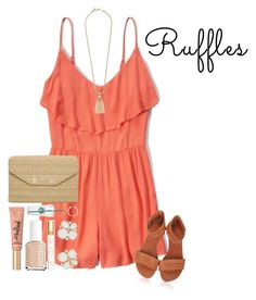 """""""Ruffles!"""" by pastelsummer ❤ liked on Polyvore featuring Abercrombie & Fitch, J.Crew, Stella & Dot, Essie, Tory Burch, Kate Spade, Too Faced Cosmetics and ruffles"""
