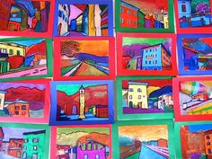 After studying the work of Fauves artists and particularly the landscapes painted by André Derain, the students of Grade have produced some images inspired by the style of this artist. Classroom Art Projects, School Art Projects, Art Classroom, Fauvism Art, Landscape Art Lessons, Maurice De Vlaminck, 7th Grade Art, School Painting, Art Lessons Elementary