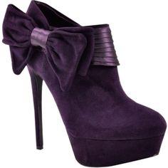 Purple velvet bow bootie