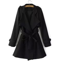 Yoins Yoins Black Belted Trench Coat ($46) ❤ liked on Polyvore featuring outerwear, coats, jackets, coats & jackets, black, belted coat, slim coat, belted trench coat, long sleeve coat and black coat