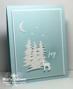 2017  Set(s):Christmas Pines  Paper:Whisper White, Soft Sky, Dazzling Diamonds Glimmer  Ink:Versamark  Other:Card Builder Thinlits, White Embossing Powder, Dimensionals