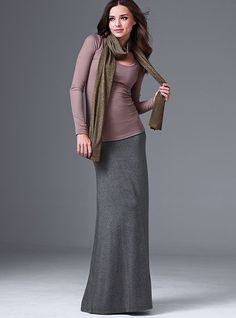 LOVE this maxi skirt! I own it in charcoal, heather gray, black, & winter brown.  Love how long it is!