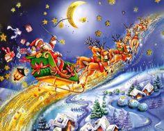 Santa riding above north pole (357 pieces)