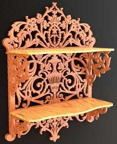 free scroll saw patterns | Scroll saw fretwork shelf in renaissance style