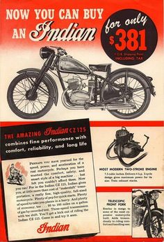 Vintage Indian Motorcycle Ad