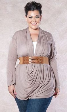 Plus Size Fashion Interesting top..would you pair it with such a high waisted belt?
