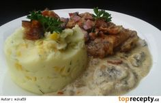 Kuřecí přírodní řízek se slaninou a žampiony Czech Recipes, Ethnic Recipes, Mashed Potatoes, Czech Food, Whipped Potatoes, Recipes, Smash Potatoes