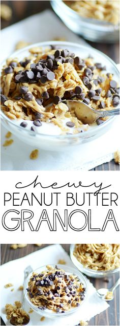 Chewy Peanut Butter Granola: Peanut butter lovers, this easy granola recipe is for you! I love eating it for breakfast or as a snack with a big bowl of yogurt and lots of chocolate chips. ~ Something swanky Breakfast Bowls, Best Breakfast, Breakfast Recipes, Breakfast Ideas, Dinner Recipes, Easy Granola Recipe, Yogurt And Granola, Granola Bars, Vegan Granola