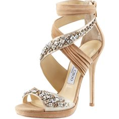 Jimmy Choo Kani Crisscross Platform Sandal (£655) ❤ liked on Polyvore featuring shoes, sandals, heels, sapatos, high heels, platform shoes, criss-cross sandals, platform sandals, nude heel sandals and nude high heel sandals