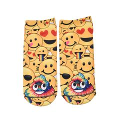 3D Printed Socks Women Cotton Unisex Short Socks Low Cut Ankle Socks Multiplecolors Funny Emoji Socks 1 Pair