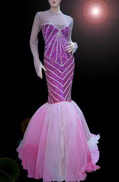 drag queen pageant   ... STUNNING CUSTOM FUCHSIA DRAG QUEEN PAGEANT MERMAID SEQUIN DRESS GOWN