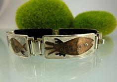 RAR! Vintage Perli Emaille Armband Fische Enamel bracelet fish 18,5cm Versilbert