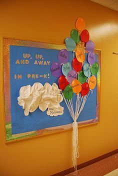 Preschool welcome board with the children's names
