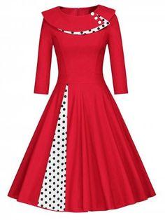 Soldes Rouge 2XL Robe Trapèze Plissée à Pois en ligne à 29.60€ avce livraison gratuite à RoseGal.com