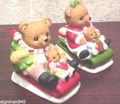 Pair of Christmas Homco Bears with Children in Sleighs Home Interior
