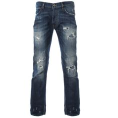 Vivienne Westwood Anglomania Denim Vintage Repair Classic Jeans ($150) ❤ liked on Polyvore featuring men's fashion, men's clothing, men's jeans, men, menswear, pants, mens jeans, mens ripped jeans, mens button fly jeans and mens destroyed jeans