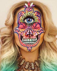 Make-up artist Vanessa Davis aka Skulltress specializes in very . - Make-up artist Vanessa Davis aka Skulltress specializes in very unusual make-up. Creepy, but still - Skull Makeup, Makeup Art, Makeup Ideas, Cosplay Make-up, Sfx Make-up, Vanessa Davis, Face Painting Designs, Painting Art, Hamsa Painting