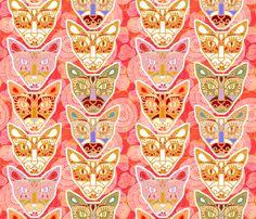 Sugar Skull Cats fabric by rubydoor on Spoonflower - custom fabric