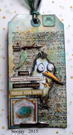 Paper ink and Glue: My Very first Tim Tag using Tim Holtz, Ranger, Idea-ology, Sizzix and Stamper's Anonymous products; Aug 2015