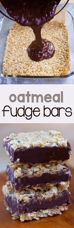 Soft, chocolatey, and ultra fudgy chocolate oatmeal fudge bars - Just like the traditional version from Starbucks, and no baking required! Bon Dessert, Dessert Bars, Baking Recipes, Cookie Recipes, Dessert Recipes, Vegan Recipes, Oat Flour Recipes, Vegan Sweets, Healthy Sweets