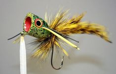 Olive//Gold//Yellow//White Fly Fishing Bass Fly Mini Diver Hair Frog