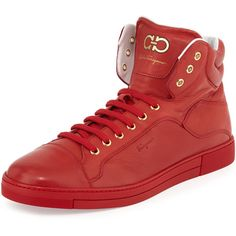 Salvatore Ferragamo Stephen 2 Lambskin High-Top Sneaker (800 CAD) ❤ liked on Polyvore featuring men's fashion, men's shoes, men's sneakers, red, mens round toe shoes, mens lace up shoes, mens red sneakers, mens red shoes and mens high top sneakers