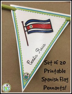 Set of 20 Printable Spanish Flag Pennants for decorating your classroom! Make a banner using ribbon or twine to add culture to any level Spanish class! #spanishclassroom #spanishresources #classroomdecor Mundo de Pepita, Resources for Teaching Spanish to Children