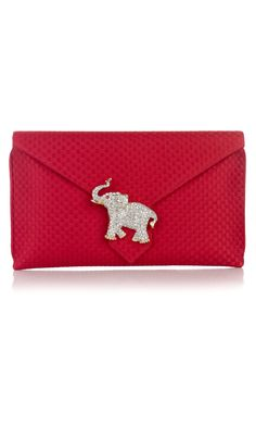 Wilbur and Gussie Edith Red Jacquared Clutch - Handbags And Clutches - Accessories | Austique