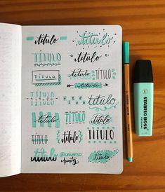 Tipos de títulos e decoração de cadernos