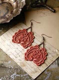 lace earrings GALIA copper by whiteowl on Etsy, $22.00