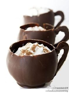 Homemade chocolate cups, filled your yummiest ice cream and toppings.