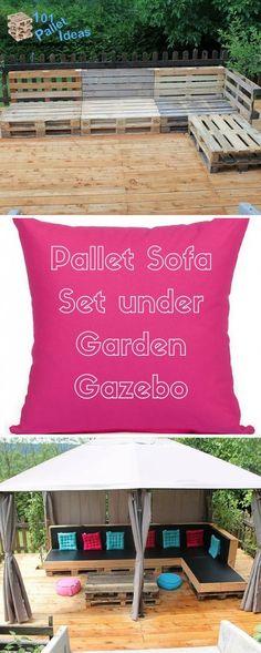 Pallet Sofa Set under Garden Gazebo