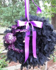 Halloween Black Feather Wreath with Purple Spider!!