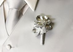 Boutonniere Beaded Mirrored Flowers Button by BridalBouquetsbyKy