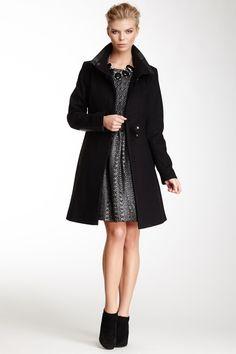 Faux Leather Trim Wool Blend Tab Coat//