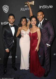 Group effort: Taraji showed off a big smile as she posed alongside her Empire family: Jussie Smollett, Grace Gealey, and Trai Byers Cookie Lyon, Empire Tv Show Cast, Jussie Smollett Empire, Grace Gealey, Virgo Girl, Golden Globes After Party, Taraji P Henson, Black Actors, Pink Gowns
