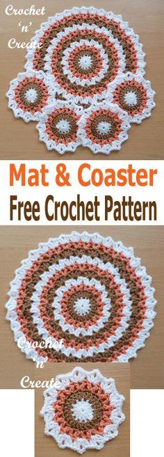 Pretty edged circular crochet mat and coaster set. #crochetncreate #crochet #crochetcoasters #crochetaddict