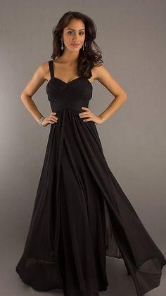 Floor Length Black Chiffon Flowy Semi Formal Dress Empire Waist
