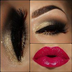 Red lips w/ gold glitter eyes