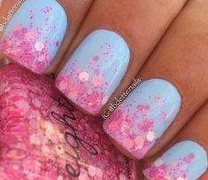 Easter Nail Designs, Gel Nail Art Designs, Nail Designs Spring, Nails Design, Baby Blue Nails, Purple Nails, Green Nails, Garra, May Nails