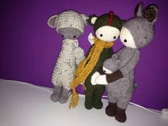 LUPO the lamb, DIRK the dragon & KIRA the kangaroo made by Marie-Luise J. / crochet patterns by lalylala