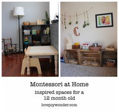 Montessori, RIE and Reggio Emilia inspired spaces and shelves at home for a one year old toddler. Living room and bedroom nursery.