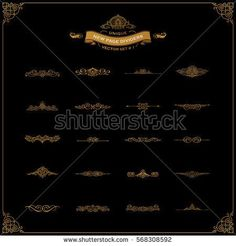 New Calligraphic Page Divider set and Element of vintage ornament. Elements for retro logo and vector crest, decorative border line. Gold royal book. Tattoo body and border